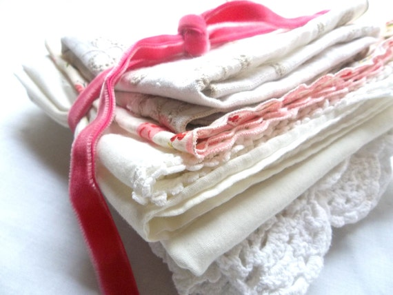 Shabby Chic Cutter Bundle - featuring beautiful doilies, hankie, pillowcase, and embroidered table linens