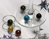 Lot of 6 WINE CHARMS glass markers for CHRISTMAS or NEW YEARS parties