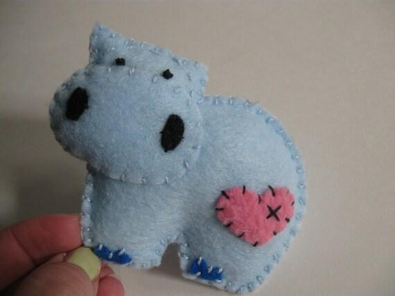 Little Blue felt Hippo