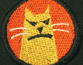 pissed off cat embroidery patch