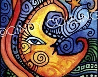 Mexican Loteria Cards - La Luna / The Moon -  ACEO / Art Card Home Decor Print by Artist Cindy Couling