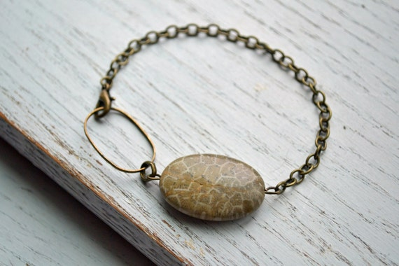 Fossilized Coral Stone Bracelet with Antique Bronze Chain