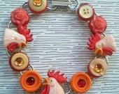 Vintage Charm Rooster Button Bracelet