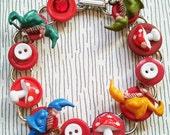 Gnome & Mushroom Button Bracelet