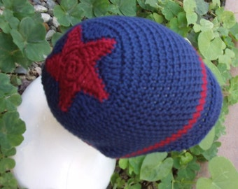 Crocheted Beanie Hat with Star - Custom - Choose your own size and colors