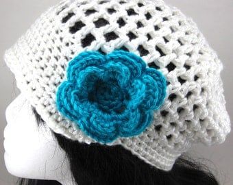 Lacy Brimmed Crocheted Beanie Hat with Large Flower Clip READY MADE - Women Crochet Hat White