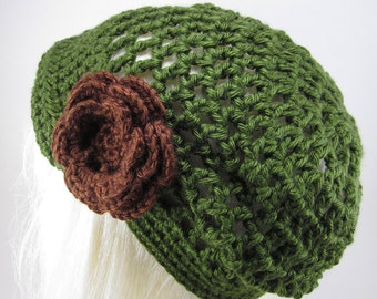 Lacy Brimmed Crocheted Hat Olive Green with Large Flower Clip - Womens Brimmed Hat