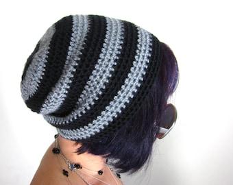 Punk Rock Beanie - Unisex Grey and Black Crocheted Hat