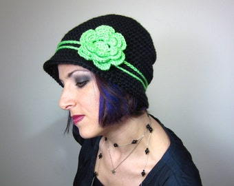 The Love Hat - Black and Green Adult Crocheted Cloche with flower clip