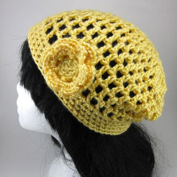 Lacy Crochet Hat with Medium Flower Clip - Women Crochet Hat - Yellow Spring Hat