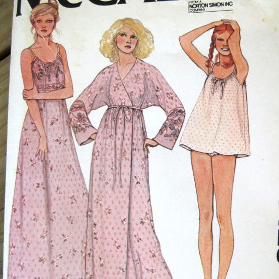 Vintage Ladies Night Gown, Robe, and Panties Sewing Pattern, UNCUT