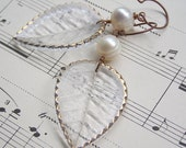 Marry Me || Pearls | Glass Leaves| Bride Jewelry | Bridesmaid | Wood Wedding | Glass and Pearls | Wedding Jewelry | Earrings Under 25