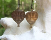 Come Sail Away - Hot Air Balloon Dreaming Flying Long Brass Etsy Earrings Jewelry Under 20