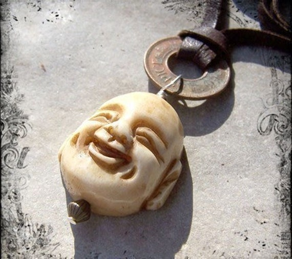 Happy Buddha and Chocolate Leather - Bone Buddha Smiling Buddha Copper Coin Leather Cord Choker Spiritual Etsy Necklace