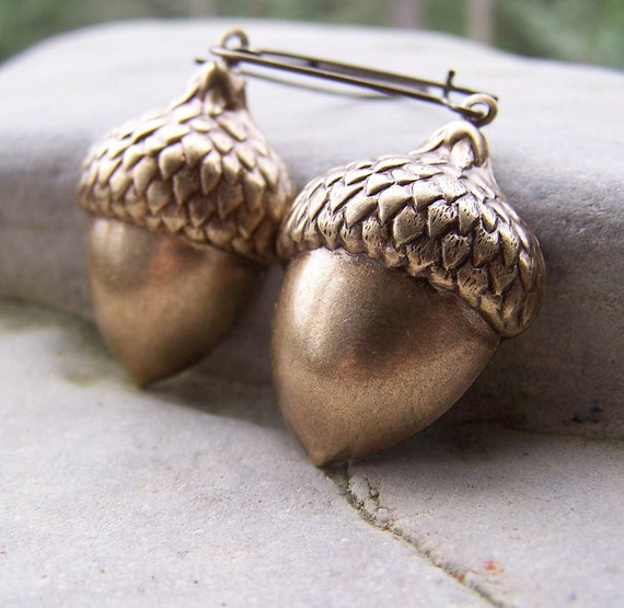 Getting Kinda Squirrely - Antiqued Brass Large Acorns Nuts Squirrel Woodland Long Bronze Earwires Nature Etsy Earrings
