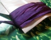 hand dyed silk ribbon in aubergine
