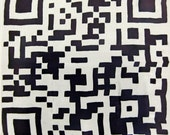 QR Code scarf - silk scarf with hand painted QR Code