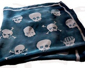 silk scarf with hand painted skulls - extra large square - navy blue