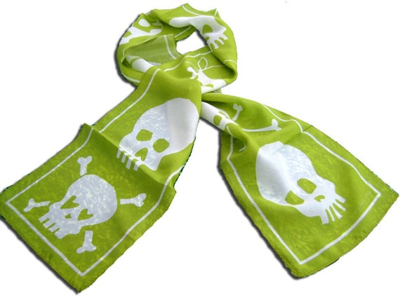 silk skull scarf in lime green - limited edition - ready to ship