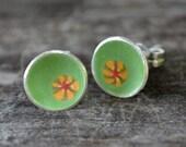 daffodil enameled mini post earrings