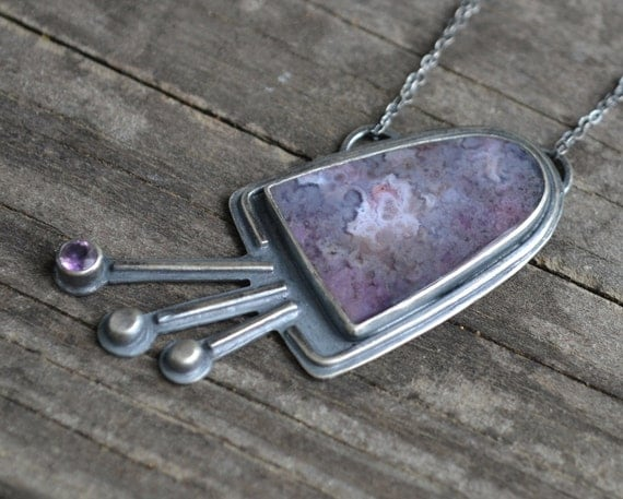tulip necklace - sterling silver and royal aztec agate