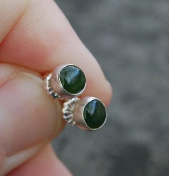 sterling silver and jade stud earrings