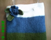 Colorblock Hand Knit Felted Purse