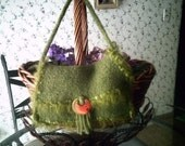 Hand Knit Felted Olive Green Mini Purse