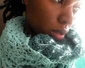 Crochet Spring Lace Cowl on Cotton Ondas de Mar. RESERVED