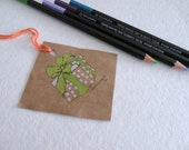 Pop- up Box Gift Tags. Set of 5. Color Pencil and Ink