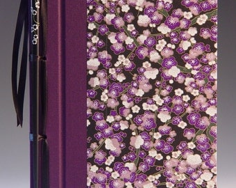 Handmade Journal - Purple Plum Blossom Chopstick Journal