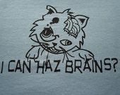 Zombie Cat I can haz brains t-shirt