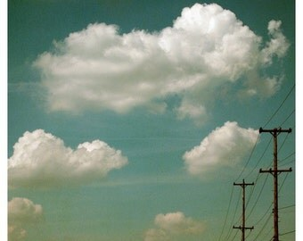 Photography - Nature Photograph - Clouds - Telephone Wires - Sky - Electric Blue- Fine Art Photograph - Michigan - Blue - Alicia Bock