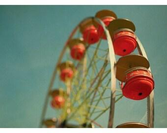 Ferris Wheel - Fair Photograph - Carnival - Summer - Ferris Wheel Photograph - Grande Roue - Fine Art Photography - Alicia Bock - Orange