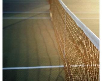 Tennis Art  - Tennis Photograph - Summer Photography - The Game 1- Original Fine Art Tennis Photograph - Green - Yellow