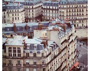Paris Photograph - French Photography - Fine Art Photograph - Cafe - Paris Street Print - Rooftops of Paris Art - French Art - Purple Print