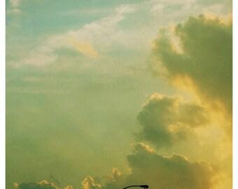 Nature Photography - Cloud Photograph - Fine Art Photograph - Sunday Night Lights - Alicia Bock - Sky Print - Yellow Art - Collecting Clouds