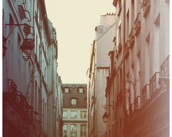 Paris Photograph - Paris Art- French Photography - Lamplight - Fine Art Photograph - Alicia Bock - Pink Art - Blue Print - Paris Print