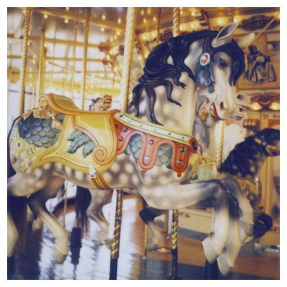 Polaroid Photograph - Carousel - Horse- Fair - Carnival - Pony - Gallop - Alicia Bock - Fine Art Photography