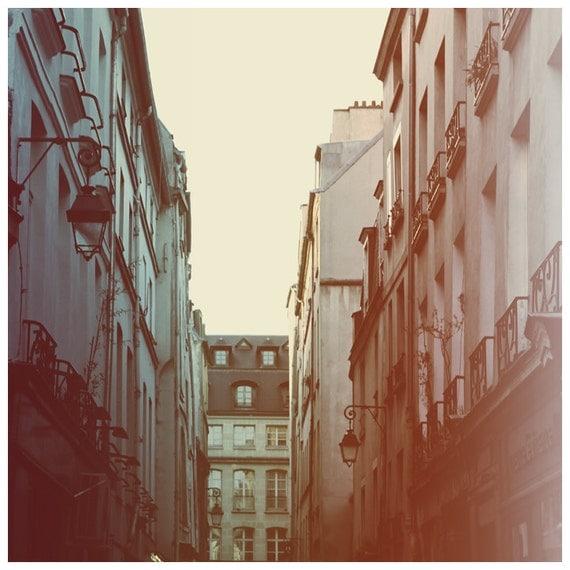 Paris Photograph - Paris - France - French Photography - Lamplight - Fine Art Photograph - Alicia Bock - Pink - Blue - Paris Art - Oversized