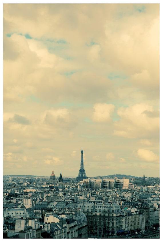 Eiffel Tower Photograph - Paris Photograph - French Photography - Paris in Blue - Original Fine Art Photograph - Alicia Bock - Sky - Clouds