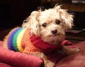 Gay Pride Doggay Wear (Small) - Rainbow Dog Sweater