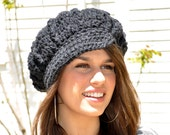 As Seen on Harry!  Crochet Newsboy Hat - Dark Grey Women's Hat with Brim - Women's Crochet Hat - Gray Hat