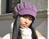 Crocheted Hat - Light Purple Newsboy Hat with Brim - Women's Hat - Adult Hat
