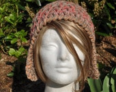 Mostly Wool Earflap Hat - Tan Crocheted Hat - Winter Accessories - Women's Hat with Earflaps - Aviator Hat - Adult Hat