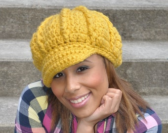 Crocheted Newsboy Hat - Mustard Yellow Hat - Winter accessories mustard accessories - Women's Hat with Brim