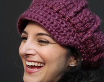 Women's Crocheted Hat  - Plum Newsboy Hat - Wool/Acrylic Blend - Winter Accessories - Winter Hat