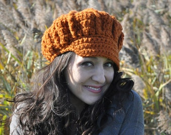 Pumpkin Crocheted Newsboy Hat - Women's Accessories - Orange Crochet Hat Women and Teens