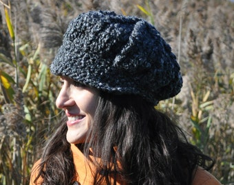 Newsboy Hat - Crocheted Hat in Charcoal Gray Boucle - Woman's Hat with Brim
