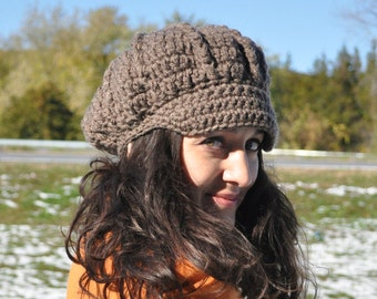 Taupe Newsboy Hat - Crocheted Hat with Brim - Winter Accessories - Taupe Hat